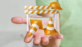 Affärsmannen som använder den digitala tolkningen 3D under konstruktion, undertecknar Royaltyfria Foton