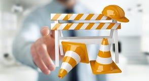 Affärsmannen som använder den digitala tolkningen 3D under konstruktion, undertecknar Royaltyfri Bild