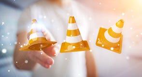 Affärsmannen som använder den digitala tolkningen 3D under konstruktion, undertecknar Royaltyfri Foto