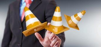 Affärsmannen som använder den digitala tolkningen 3D under konstruktion, undertecknar Royaltyfri Fotografi
