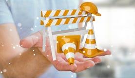 Affärsmannen som använder den digitala tolkningen 3D under konstruktion, undertecknar Fotografering för Bildbyråer