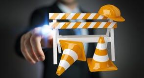 Affärsmannen som använder den digitala tolkningen 3D under konstruktion, undertecknar Arkivfoton
