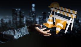 Affärsmannen som använder den digitala tolkningen 3D under konstruktion, undertecknar Royaltyfria Bilder
