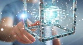 Affärsmannen som använder den futuristiska kuben, texturerade tolkningen för objekt 3D Arkivbild
