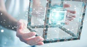 Affärsmannen som använder den futuristiska kuben, texturerade tolkningen för objekt 3D Arkivfoto