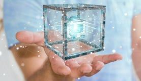 Affärsmannen som använder den futuristiska kuben, texturerade tolkningen för objekt 3D Royaltyfri Bild