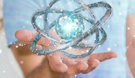 Affärsmannen som använder den futuristiska toruset, texturerade tolkningen för objekt 3D Arkivbild