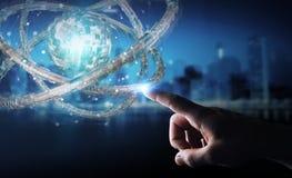 Affärsmannen som använder den futuristiska toruset, texturerade tolkningen för objekt 3D Royaltyfri Fotografi