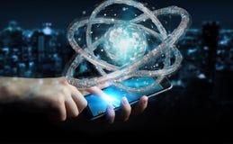 Affärsmannen som använder den futuristiska toruset, texturerade tolkningen för objekt 3D Arkivfoto