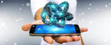 Affärsmannen som använder den futuristiska toruset, texturerade tolkningen för objekt 3D Royaltyfria Foton