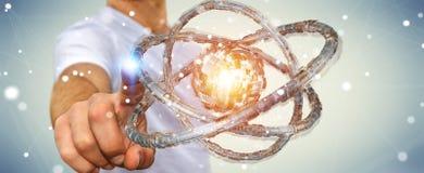 Affärsmannen som använder den futuristiska toruset, texturerade tolkningen för objekt 3D Royaltyfri Bild
