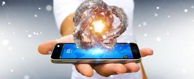 Affärsmannen som använder den futuristiska toruset, texturerade tolkningen för objekt 3D Arkivbilder