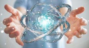 Affärsmannen som använder den futuristiska toruset, texturerade tolkningen för objekt 3D Arkivfoton