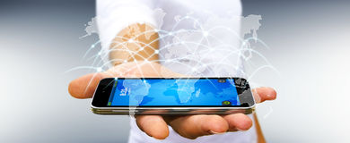Affärsmannen som använder det globala nätverket, och datautbyten '3D framför Royaltyfria Foton