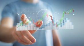 Affärsmannen som använder digital 3D, framförde börsstatistik och c Arkivfoto