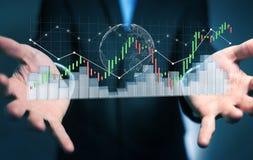Affärsmannen som använder digital 3D, framförde börsstatistik och c Arkivfoton