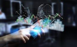 Affärsmannen som använder digital 3D, framförde börsstatistik och c Arkivbilder