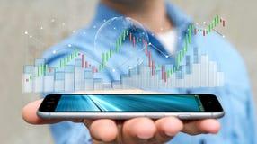 Affärsmannen som använder digital 3D, framförde börsstatistik och c Royaltyfri Bild