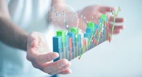 Affärsmannen som använder digital 3D, framförde börsstatistik och c royaltyfri illustrationer