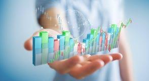 Affärsmannen som använder digital 3D, framförde börsstatistik och c stock illustrationer