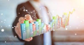 Affärsmannen som använder digital 3D, framförde börsstatistik och c vektor illustrationer