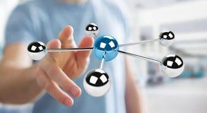 Affärsmannen som använder flyga sfärer 3D, knyter kontakt tolkningen 3D Arkivbilder