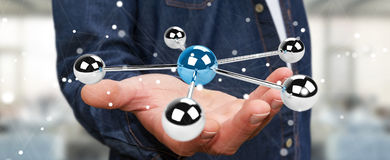 Affärsmannen som använder flyga sfärer 3D, knyter kontakt tolkningen 3D Royaltyfri Bild