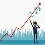 Affärsmannen som använder kikare som söker efter tillväxtdiagrammet, pengar och pekar fingret för att lyfta grafen, får mycket pe vektor illustrationer