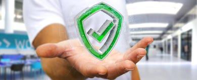 Affärsmannen som använder moderna data, skyddar tolkningen för antivirus 3D Royaltyfri Bild