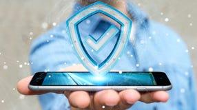 Affärsmannen som använder moderna data, skyddar tolkningen för antivirus 3D Fotografering för Bildbyråer