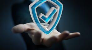 Affärsmannen som använder moderna data, skyddar tolkningen för antivirus 3D Arkivfoton