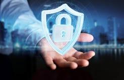 Affärsmannen som använder moderna data, skyddar tolkningen för antivirus 3D Arkivfoto