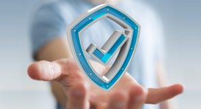 Affärsmannen som använder moderna data, skyddar tolkningen för antivirus 3D Royaltyfria Foton
