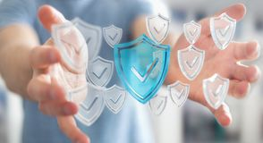 Affärsmannen som använder moderna data, skyddar tolkningen för antivirus 3D Royaltyfria Bilder