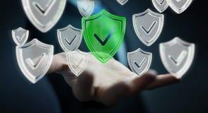 Affärsmannen som använder moderna data, skyddar tolkningen för antivirus 3D Arkivbild