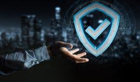 Affärsmannen som använder moderna data, skyddar tolkningen för antivirus 3D Royaltyfri Fotografi