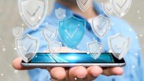Affärsmannen som använder moderna data, skyddar tolkningen för antivirus 3D Royaltyfri Foto