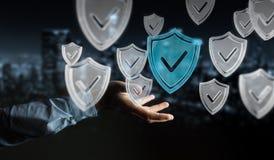 Affärsmannen som använder moderna data, skyddar tolkningen för antivirus 3D Arkivbilder