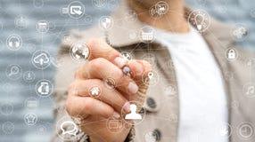 Affärsmannen som använder multimedia, knyter kontakt med en tolkning för penna 3D Royaltyfri Fotografi