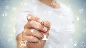 Affärsmannen som använder multimedia, knyter kontakt med en tolkning för penna 3D Fotografering för Bildbyråer
