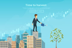 Affärsmannen som bevattnar pengarträdet från att bevattna kan royaltyfri illustrationer