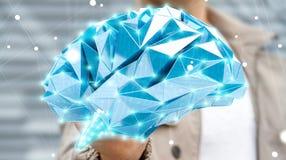 Affärsmannen som drar den mänskliga hjärnan för den digitala röntgenstrålen i hans hand 3D, ren Arkivfoton