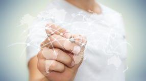 Affärsmannen som drar det globala nätverket, och datautbyten '3D sliter Royaltyfri Foto