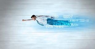 Affärsmannen som flyger toppet snabbt med data, numrerar kvarlämnat royaltyfri bild
