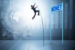 Affärsmannen som hoppar över pengar i affärsidé Royaltyfri Foto