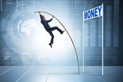 Affärsmannen som hoppar över pengar i affärsidé Royaltyfri Fotografi