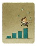 Affärsmannen som jonglerar med pengar, lyftte överst av en stånggraf vektor illustrationer