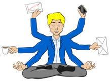 Affärsmannen som mediterar i lotusblommaposition och, gör mycket arbete stock illustrationer