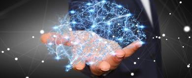 Affärsmannen som rymmer den mänskliga hjärnan för den digitala röntgenstrålen i hans hand 3D, ren Arkivfoto