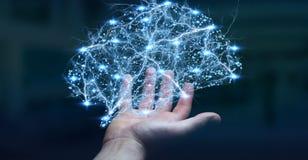 Affärsmannen som rymmer den mänskliga hjärnan för den digitala röntgenstrålen i hans hand 3D, ren Royaltyfri Foto